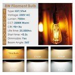 Hizashi Edison Ampoule LED, Dimmable, 8W 750LM ST64 LED Vintage Ampoule Décorative E27, Équivalent 75W Halogène Ampoule, Blanc Chaud 2200K, Lot de 4 de la marque Hizashi image 2 produit