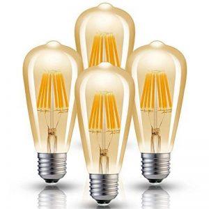 Hizashi Edison Ampoule LED, Dimmable, 8W 750LM ST64 LED Vintage Ampoule Décorative E27, Équivalent 75W Halogène Ampoule, Blanc Chaud 2200K, Lot de 4 de la marque Hizashi image 0 produit