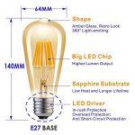 Hizashi Edison Ampoule LED, Dimmable, 8W 750LM ST64 LED Vintage Ampoule Décorative E27, Équivalent 75W Halogène Ampoule, Blanc Chaud 2200K, Lot de 4 de la marque Hizashi image 1 produit