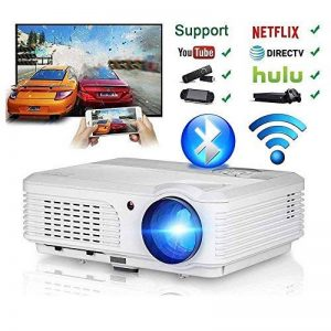 Home Theater WiFi Bluetooth Projector 3200 Lumen 1280x800 Resolution Support HD 1080P HDMI Wireless LCD Outdoor Movie Projectors Android OS for Smartphone Laptop Apps Games de la marque WIKISH image 0 produit