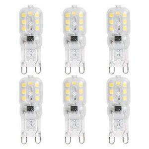 HTMART Ampoule LED G9 2,5W,Equivalent 20W Ampoules Halogènes,6500K Blanc Froid,230 Lumens,AC220-240V,Non Dimmable-Pack de 6 de la marque HTMART image 0 produit