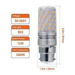 Hzsane B22LED ampoule à maïs 12W, 100W équivalent ampoules à incandescence, 3000K Blanc chaud, 1200LM, B22 Casquette à baïonnette Ampoules à LED, 4-Pack de la marque Hzsane image 1 produit