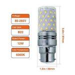 Hzsane B22LED ampoule à maïs 12W, 100W équivalent ampoules à incandescence, 6000K Blanc lumière du jour, 1200LM, B22 Casquette à baïonnette Ampoules à LED, 4-Pack de la marque Hzsane image 1 produit