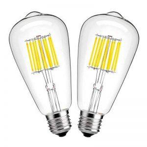 Hzsane ST64 E2710W antique Edison style ampoule à filament LED, 100W équivalent ampoules à incandescence, 6000K Blanc lumière du jour, 1000LM, ampoule LED, Edison Screw Light Ampoules, 2-pack de la marque Hzsane image 0 produit