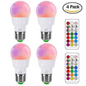 iLC Ampoule Led Couleur Edison Changement de couleur Ampoule 3W E27 RGBW LED Ampoules - RGB 12 choix de couleur - IR Télécommande (Lot de 4) de la marque iLC image 0 produit