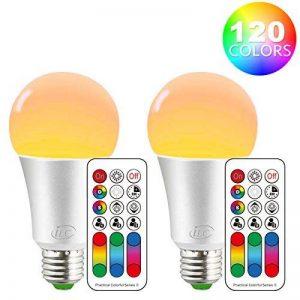 iLC Ampoule Led E27 RGBChangement deCouleur,Ampoules LedDimmable Blancchaud(2700K) 10W - Equivalence incandescence 60W, Lampe LedAngle de Faisceau 270°,900Lumen,85CRISuper high Display, VisDouille,LumiereledLumière d'humeur -Double mémoire - image 0 produit