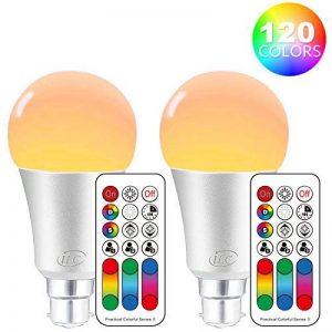 Ilc ampoules LED à changement de couleur Dimmable 10W B22à baïonnette RGBW Lampes, 4ème Geneartion RGB chaud Coloured- double mémoire–120couleurs différentes–60W équivalent télécommande inclus (lot de 2) de la marque iLC image 0 produit