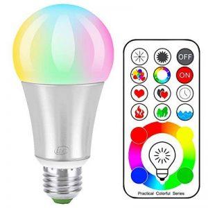 iLC LED Ampoules de couleur Edison Changement de Couleur Ampoule RGB+Blanc Dimmable - 120 Choix de Couleur - 10Watt E27 Types RGBW LED Ampoules - 2 Modes Dynamiques - Télécommande Compris de la marque iLC image 0 produit