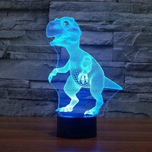 Illusion Optique 3D Dinosaure Nuit Lampe 7 Couleurs Changeantes Puissance USB Contact Switch Lampe Décorative LED Lampe de Table Anniversaire Noël Cadeau Enfants Jouets de la marque YTDZ image 0 produit
