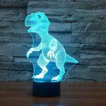 Illusion Optique 3D Dinosaure Nuit Lampe 7 Couleurs Changeantes Puissance USB Contact Switch Lampe Décorative LED Lampe de Table Anniversaire Noël Cadeau Enfants Jouets de la marque YTDZ image 2 produit