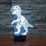 Illusion Optique 3D Dinosaure Nuit Lampe 7 Couleurs Changeantes Puissance USB Contact Switch Lampe Décorative LED Lampe de Table Anniversaire Noël Cadeau Enfants Jouets de la marque YTDZ image 4 produit