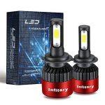 Infitary H4/H7 LED Headlight de phare Hi / Lo faisceau Auto phare, double faisceau de lumière, 72W 6500K 8000LM Extrêmement Super brillant COB Kit de conversion de copeaux pour voiture- 1 pai (H7R) de la marque Infitary image 3 produit