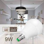 Jandcase ampoule LED équivalent 60W, ampoules LED Lumière du jour 6000K, Blanc A60Ampoule 9W, E14Culot Base lumières LED, LED Lampes éclairage de la maison, variateur d'intensité (lot de 5) de la marque JandCase image 3 produit