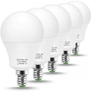 Jandcase ampoule LED équivalent 60W, ampoules LED Lumière du jour 6000K, Blanc A60Ampoule 9W, E14Culot Base lumières LED, LED Lampes éclairage de la maison, variateur d'intensité (lot de 5) de la marque JandCase image 0 produit