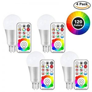 Jayool 10W E27 120 Couleurs LED RGBW Ampoule Changement de Couleur Télécommande (3ème génération), Timing et Dimmable RGB+lumière du jour Blanc(6500K) Edison Screw (Lot de 4) de la marque Jayool image 0 produit