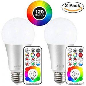 Jayool 10W E27 120 Couleurs LED RGBW Ampoule Changement de Couleur Télécommande (3ème génération), Timing et Dimmable RGB+lumière du jour Blanc(6500K) Edison Screw (Lot de 2) de la marque image 0 produit