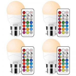 Jayool Ampoules à LED Changement de Couleur, Dimmable 3W B22 Baïonnette RGBW Ampoules, 12 RGB Couleurs + Blanc Chaud, Double Mémoire et Timing, Télécommande Incluse (Lot of 4) de la marque Jayool image 0 produit