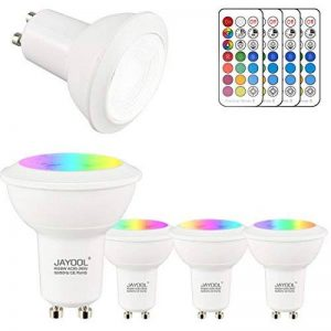 Jayool GU10 Ampoules LED, Dimmable 3W Changement de Couleur Spot Light avec Télécommande, RGB + Blanc Froid, Timier, 45° Angle de Faisceau (Lot de 4) de la marque Jayool image 0 produit