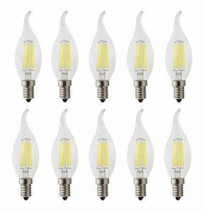 JCKing (Pack of 10) AC 220V 6W E14 Dimmable LED Filament Bulbs Bougie pointe ampoule LED, LED Vintage Antique Chandelier Light Cool blanc 6500K de la marque JCKing image 0 produit