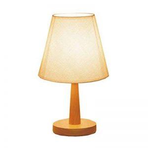 JIAHONG Lampe de table en bois massif moderne, lampe de traitement de tissu, chambre à coucher, lecture de chevet, table d'éclairage, lampe, lumière chaude LED E27 (bouton-poussoir) ( Color : A ) de la marque AILI image 0 produit