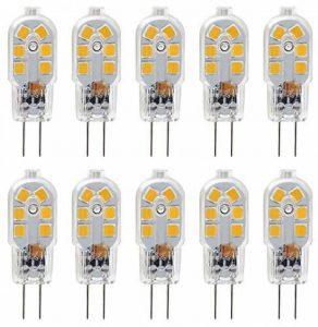 KDP 10-Pack G4 2W LED ampoule pour les ampoules de hotte, 20W ampoules halogènes équivalentes, 200LM, Bi-Pin avec couvercle en PVC transparent, blanc chaud 3000K, DC/AC 12V, non-dimmable de la marque KDP image 0 produit