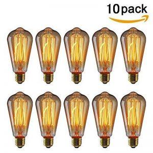 KINGSO 10pack E27 Ampoule Edison à Incandescence Vintage ST64 60W 220V Lampe Tungstène Décorative Ampoule Filament Classique Antique Dimmable Blanc Chaud de la marque KINGSO image 0 produit