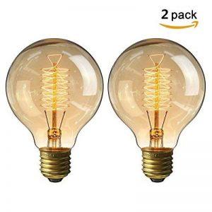KINGSO 2 Pack E27 Edison Ampoule à Incandescence Vintage Globe Lampe Filament Rétro G80 60W 220V Blanc Chaud Idéal pour Décoration Luminaire Antique de la marque KINGSO image 0 produit