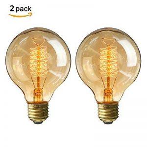 KINGSO 2 Pack E27 Edison Ampoules à Incandescence G80 40W 220V Globe Lampe Filament Vintage Blanc Chaud Idéale pour Nostalgie et Eclairage Antique de la marque KINGSO image 0 produit