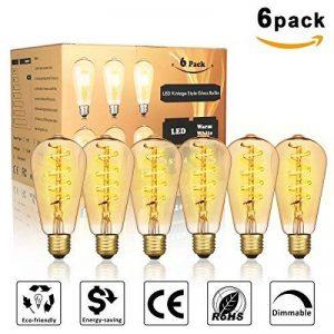 KINGSO 6 Pack E27 Ampoule LED Edison Vintage ST64 4W 2200K, Économie d'énergie Remplacement d'ampoule à Incandescence de 40W, Style Rétro Décoration Luminaire Antique Nostalgique Blanc Chaud de la marque KINGSO image 0 produit