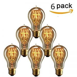 KINGSO 6 Pack E27 Edison Ampoules à Incandescence Vintage Lampe Filament A19 40W 220V Blanc Chaud Idéal pour Nostalgie et Eclairage Antique de la marque KINGSO image 0 produit
