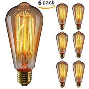 KINGSO 6pack E27 Ampoule Edison à Incandescence Vintage ST64 60W 220V Lampe Tungstène Décorative Ampoule Filament Classique Antique Dimmable Blanc Chaud de la marque KINGSO image 0 produit