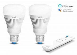 Kit de 2 ampoules LED intelligentes WiZ E27 - connectées par WiFi - blanc et couleurs avec WiZmote. 64000 nuances de blanc, 16 millions de couleurs. Fonctionne avec Amazon Alexa et Google Home de la marque WiZ image 0 produit
