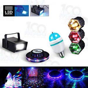 Kit FIESTA 4 Jeux lumière effet OVNI + Stroboscope + Ampoule Disco + Chenillard 3 Couleurs de la marque MyDJ image 0 produit