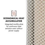 Klarstein HeatPal Marble Chauffage infrarouge 1300W accumulateur thermique Plaque de marbre intégrée pour une dissipation continue de la chaleur 1300 W chauffent la pièce Silencieuse Optique élégante Éléments en aluminium brossé de la marque Klarst image 4 produit