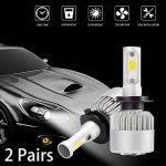 Kreema 2 paires 30000LM 200W CREE LED phare de voiture H7 ampoule halogène intégré dans le ventilateur de refroidissement 6500K blanc de la marque Kreema image 2 produit