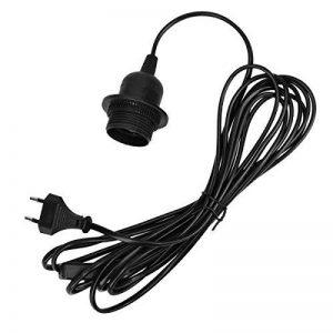 kwmobile Support lampe douille E27 - Câble pour ampoule avec bague fixation - Cordon alimentation noir prise électrique et interrupteur - Fil 5 m de la marque kwmobile image 0 produit