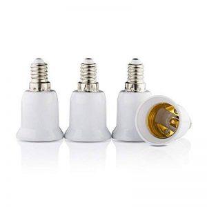 LACARI Lot de 4 adaptateurs de lampe E14 vers E27 pour ampoule halogène et basse consommation avec filetage E 14 résistant à la corrosion Compatible avec LACARI de la marque Lacari image 0 produit