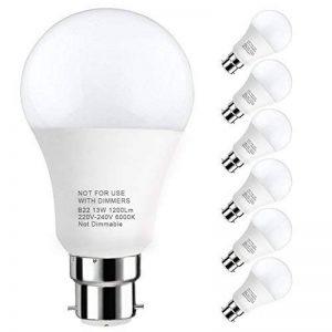LAKES Ampoule LED Globe A19 Culot B22, 100W Équivalent Ampoule sphérique, 6000K Blanc froidK, Lot de 6 de la marque LAKES image 0 produit