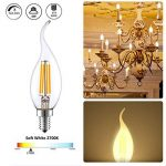 """LAKES E14 Ampoules à bougie à filament LED, 4 watts 350LM / 40W Equivalent à incandescence, C35 Petites ampoules à bougie à vis Edison (SES), Blanc doux 2700K, paq./6"""" de la marque LAKES image 2 produit"""