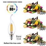 """LAKES E14 Ampoules à bougie à filament LED, 4 watts 350LM / 40W Equivalent à incandescence, C35 Petites ampoules à bougie à vis Edison (SES), Blanc doux 2700K, paq./6"""" de la marque LAKES image 3 produit"""
