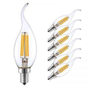 """LAKES E14 Ampoules à bougie à filament LED, 4 watts 350LM / 40W Equivalent à incandescence, C35 Petites ampoules à bougie à vis Edison (SES), Blanc doux 2700K, paq./6"""" de la marque LAKES image 0 produit"""