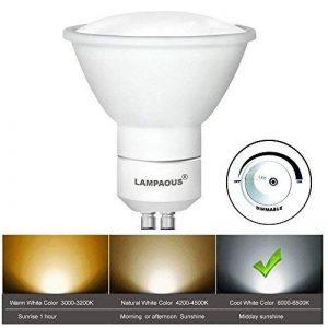 lampaous® 5W dimmable LED GU10, Blanc Froid 6000k 450 lms très brillant ,5W équivalent aux ampoules halogènes 50 W ,gu10 led boîtier en céramique ,Lot de 10 ampoules. avec variateur d'intensité de la deuxième génération, une meilleure stabilité.[Classe én image 0 produit
