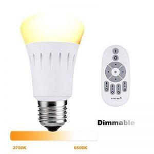 Lampaous ® ambiance blanche 9W E27 dimmable avec télécommande sans fil 2.4G, de 90 lumens à 800 lumens , température de couleur de 2700K à 6500K Blanc chaud, blanc pur, blanc froid Toutes les couleurs blanches de la marque Lampaous image 0 produit
