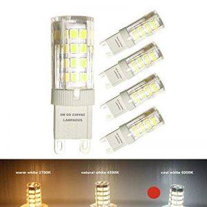 Lampaous® G9Ampoule LED, Blanc Froid Couleur lumière, 5W Super Bright 350–400lumens lampe à halogène G9, 40W équivalent, 360degrés Angle de faisceau, 220V-240vac, Energying économie non dimmable G9lumières, Lot de 4 de la marque Lampaous image 0 produit