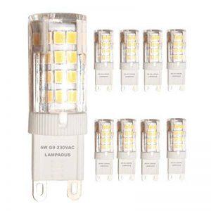 lampaous G9 Ampoule LED, Jour, Couleur Blanc, 5 W Super Bright 350–400 lumens, équivalent 40 W Lampe halogène G9, 360 ° angle de faisceau, 220 V-240VAC, energying économie d'non compatible avec variateur d'intensité G9 LED, Lot de 8 de la marque Lampaous image 0 produit