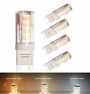 Lampaous® Led G9 , 3000k blanc chaud, 5w G9 LED équivalent aux ampoules halogènes de 40 W. 350-400 lumens; angle de faisceau : 360 dégrées; basse consommation; not dimmable, lot de 4 ampoules de la marque Lampaous image 0 produit