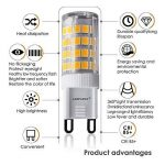 Lampaous Led G9 5w, blanc chaud 3000k, 5w G9 LED équivalent aux ampoules halogènes de 40 W. 350-400 lumens; angle de faisceau : 360 dégrées; basse consommation; not dimmable, lot de 8 de la marque Lampaous image 3 produit