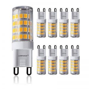 Lampaous Led G9 5w, blanc neutre 4000k, 5w G9 LED équivalent aux ampoules halogènes de 40 W. 350-400 lumens; angle de faisceau : 360 dégrées; basse consommation; not dimmable, lot de 8 de la marque Lampaous image 0 produit