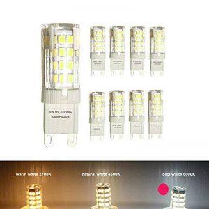 Lampaous® Led G9 , 6000k blanc froid, 5w G9 LED équivalent aux ampoules halogènes de 40 W. 350-400 lumens; angle de faisceau : 360 dégrées; basse consommation; not dimmable, lot de 8 ampoules de la marque Lampaous image 0 produit