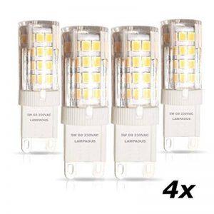 Lampaous® Led G9 , blanc du jour 4000k, 5w G9 LED équivalent aux ampoules halogènes de 40 W. 350-400 lumens; angle de faisceau : 360 dégrées; basse consommation; not dimmable, lot de 4 ampoules de la marque Lampaous image 0 produit